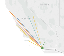 thumbnail of map of California showing lines to reserves from UC San Diego