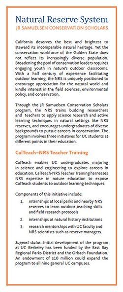 JR Samuelsen Conservation Scholars insert