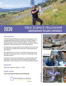pdf of Field Science Fellowship flyer