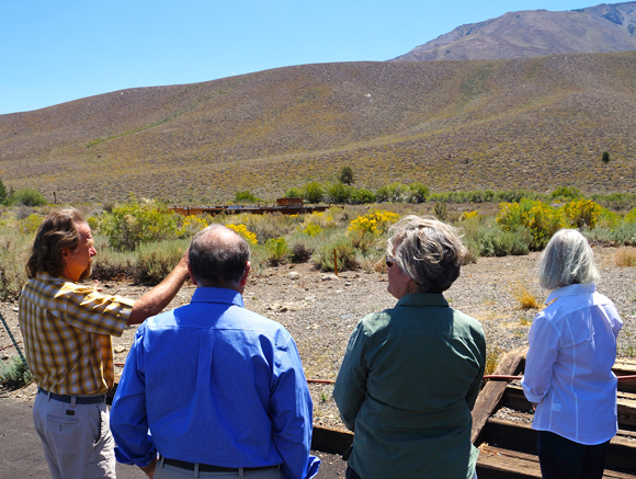 The future site of SNARL's high-tech classroom and lecture hall is viewed by reserve director Dan Dawson, donor Paul Page, UCSB NRS director Patricia Holden, and donor Kate Page. Image credit: George Foulsham.