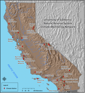 The NRS Climate Monitoring Network includes 26 stations in different habitats across California.