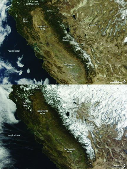Snowpack in California in 2014 (top) is far less than it was exactly a year earlier (2013), making accurate snowpack measurements critical. Images courtesy LANCE/EOSDIS MODIS Rapid Response Team at NASA GSFC