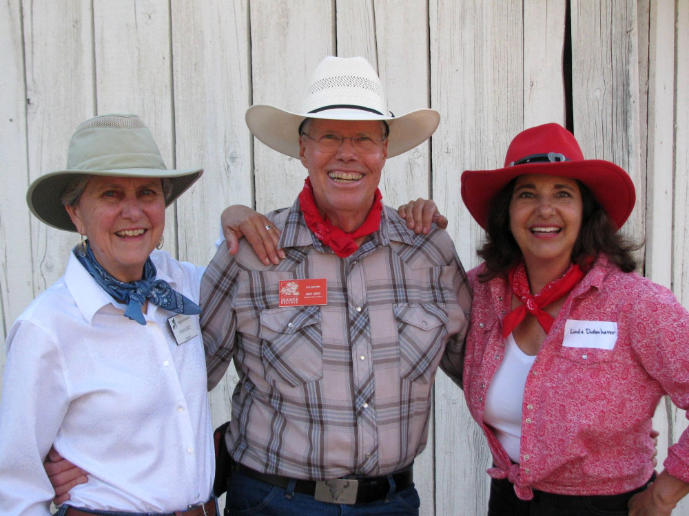 Alumna and donor Linda Duttenhaver, far right, with longtime Sedgwick Reserve docents Susan and Andy Lentz, at the Reserve's 5th Annual Barn Dance in 2014.