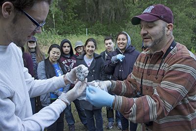 Students at Hastings Natural History Reservation learn standard field techniques such as how to conduct small mammal surveys. Image credit: Lobsang Wangdu
