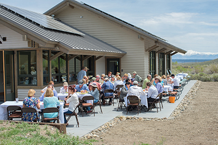 An extensive patio and solar panels make the most out of the environment of Mammoth Lakes. Image credit: Susan Morning